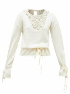 Loewe - Drawstring Faux Pearl-embellished Sweater - Womens - Cream