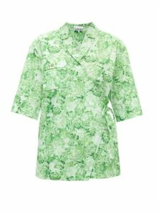 Ganni - Rose-print Cotton-poplin Shirt - Womens - Green