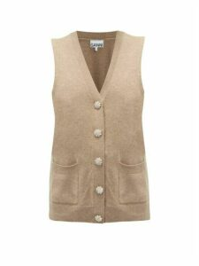Ganni - Crystal-button Cashmere Vest Cardigan - Womens - Beige