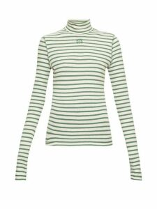 Loewe - Striped High-neck Jersey Top - Womens - Green Stripe