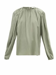 Lemaire - Draped Silk-crepe Blouse - Womens - Light Green