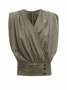 Lemaire - Gathered Cotton-poplin Wrap Top - Womens - Dark Grey