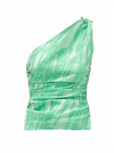 Ganni - One-shoulder Satin-jacquard Top - Womens - Green