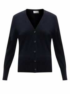 Allude - V-neck Wool-blend Cardigan - Womens - Navy