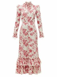The Vampire's Wife - The Cinderella Floral-print Cotton-crepe Dress - Womens - Red White