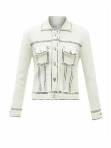 Barrie - Topstitched Cashmere-blend Cardigan - Womens - White Navy