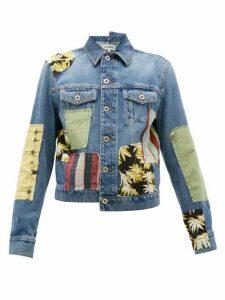Loewe - Patchwork Denim Jacket - Womens - Blue Multi