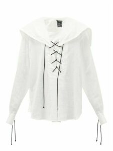 Ann Demeulemeester - Laced Cotton-voile Blouse - Womens - White