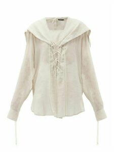 Ann Demeulemeester - Laced Cotton-voile Blouse - Womens - Beige