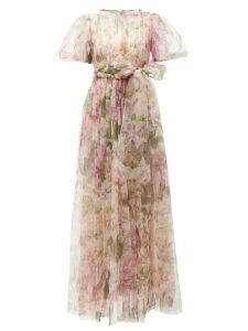 Dolce & Gabbana - Peony-print Fuff-sleeve Tulle Gown - Womens - Pink Print