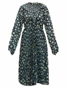 Vetements - Floral-print Plissé Midi Dress - Womens - Black Multi