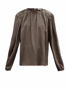 Lemaire - Draped Silk-crepe Blouse - Womens - Dark Grey