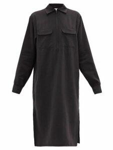 Lemaire - Flap-pocket Silk-blend Midi Dress - Womens - Black