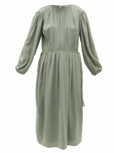 Lemaire - Pleated Silk-georgette Midi Dress - Womens - Light Green