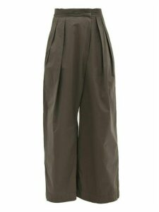 Lemaire - Ruched-waist Cotton Wide-leg Trousers - Womens - Dark Grey