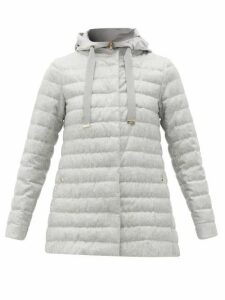 Herno - Water-repellent Silk-blend Padded Coat - Womens - Light Grey