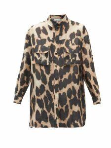 Ganni - Leopard-print Linen-blend Shirt - Womens - Leopard