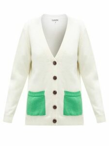 Ganni - Patch-pocket V-neck Merino-wool Cardigan - Womens - Cream