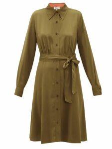 Diane Von Furstenberg - Dory Silk-blend Crepe Shirt Dress - Womens - Khaki