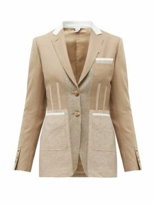 Burberry - Single-breasted Panelled Wool-blend Jacket - Womens - Beige