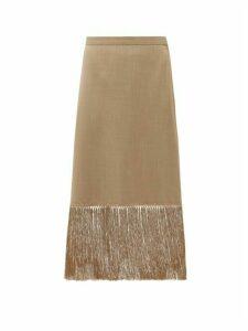 Burberry - Fringed Wool-blend Pencil Skirt - Womens - Beige