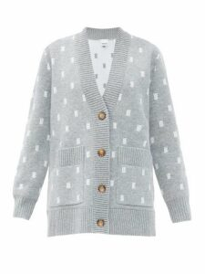 Burberry - Palena Tb-jacquard Cardigan - Womens - Grey Multi