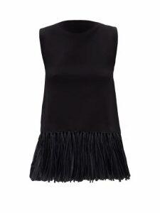 Jil Sander - Raffia-hem Crepe-jersey Top - Womens - Black