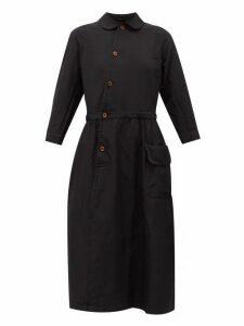 Comme Des Garçons Comme Des Garçons - Peter Pan-collar Canvas Shirt Dress - Womens - Black