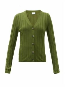 Allude - V-neck Wide-rib Merino-wool Cardigan - Womens - Khaki