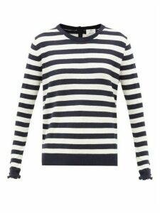 Allude - Ruffle-cuff Striped Knit Sweater - Womens - Navy Stripe