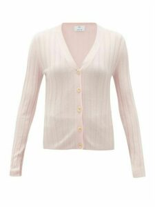 Allude - V-neck Wide-rib Merino-wool Cardigan - Womens - Light Pink