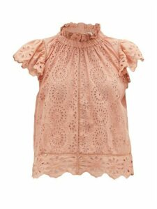 Sea - Daisy Cotton Broderie-anglaise Blouse - Womens - Pink