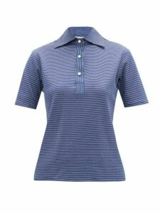 Giuliva Heritage Collection - The Daphne Striped Cotton Polo Shirt - Womens - Navy Multi