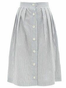 Giuliva Heritage Collection - The Giovanna Jacquard-stripe Cotton Skirt - Womens - White Stripe