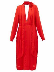 Victoria Beckham - Floral-necktie Pleated-chiffon Dress - Womens - Red