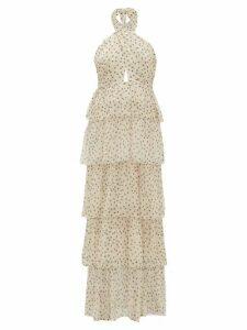 Sir - Isabella Halterneck Polka-dot Silk-chiffon Dress - Womens - Khaki