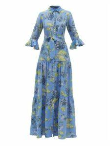 Beulah - Nalini Floral-print Silk-satin Dress - Womens - Blue Multi