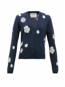 Barrie - Floral-embroidered Cashmere-blend Cardigan - Womens - Navy White