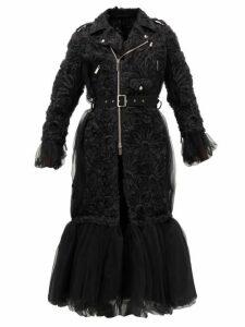 Noir Kei Ninomiya - Peplum-hem Floral-appliqué Tulle Coat - Womens - Black