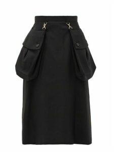 Noir Kei Ninomiya - Detachable-pocket Cotton-gabardine Midi Skirt - Womens - Black