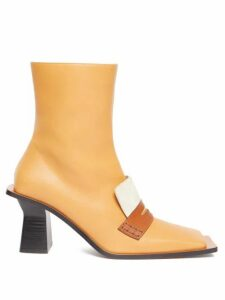 Loewe - Oversized-sole Square-toe Leather Boots - Womens - Tan Multi
