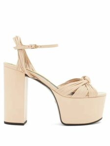 Gucci - Knotted-vamp Leather Platform Sandals - Womens - Nude