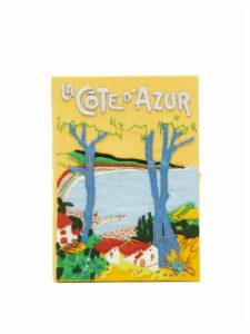 Olympia Le-tan - La Cote D'azure-embroidered Book Clutch - Womens - Yellow Multi