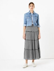 M&S Collection Gingham Tiered Maxi Fit & Flare Skirt