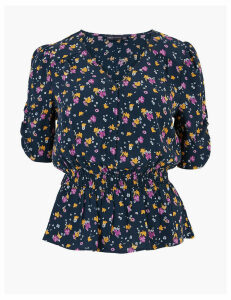M&S Collection Ditsy Floral V-Neck Waisted Blouse