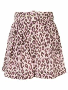 Zimmermann Super Eight silk leopard print shorts - PURPLE