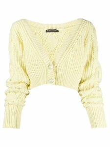 Wandering cropped v-neck cardigan - Yellow