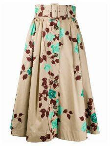MSGM floral print belted midi skirt - NEUTRALS