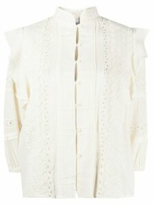IRO embroidered ruffle-trimmed shirt - NEUTRALS