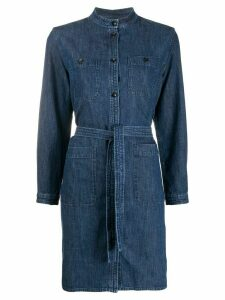 A.P.C. button down tie waist denim shirt - Blue